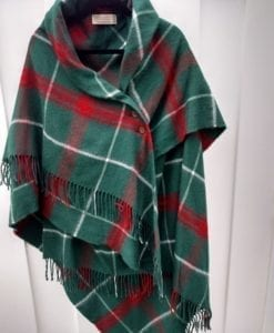 A unique Welsh plaid lambsool cape, perfect for the winter holidays!