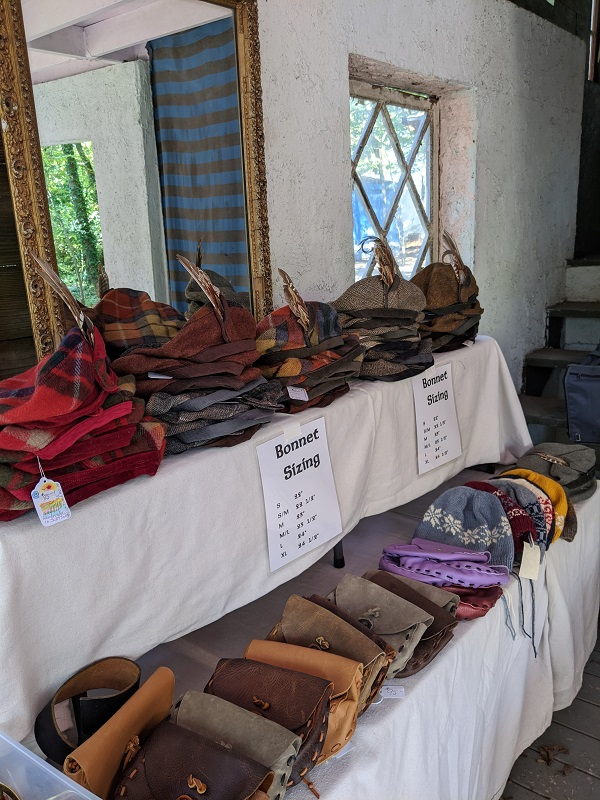 Our selection of tweed hats for sale at our booth in Kentucky
