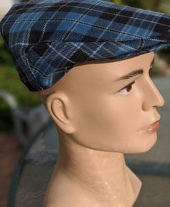 A side profile of our Ancient Clergy Tartan hat