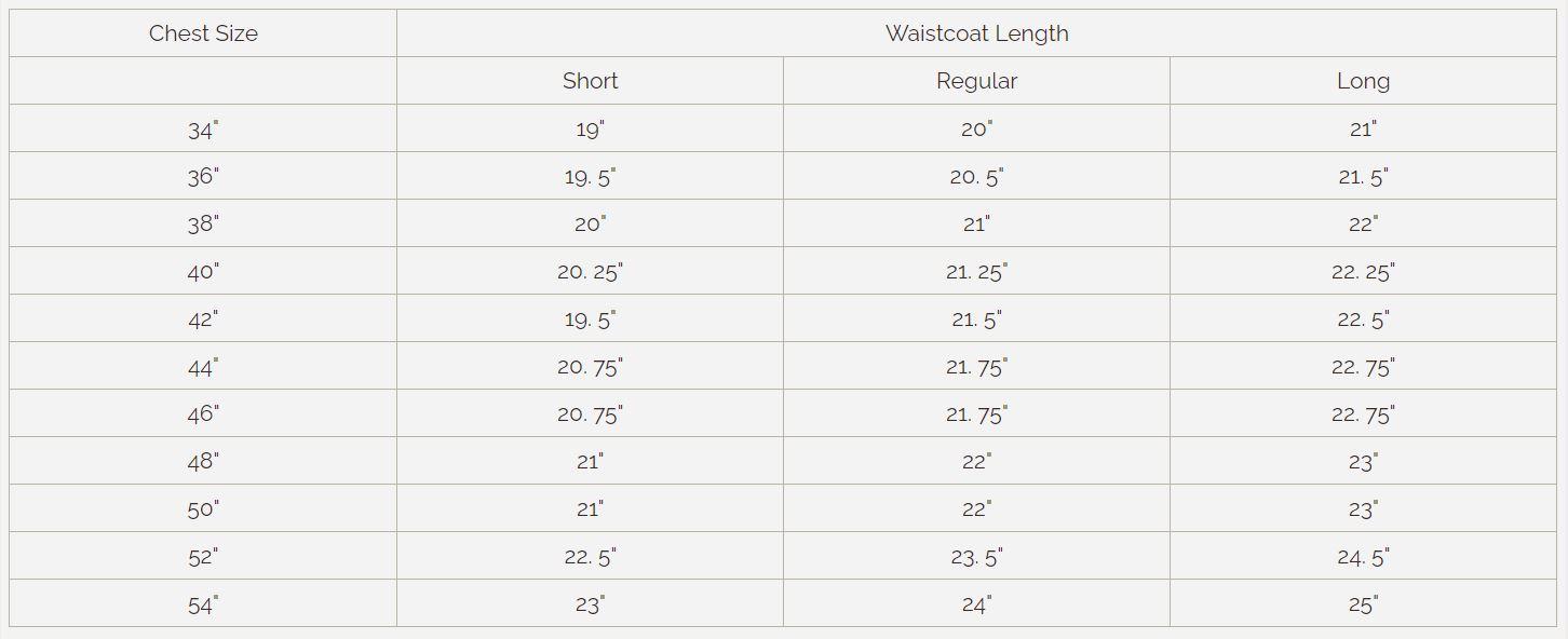 Waistcoat Sizing Chart